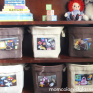 Toy Organization: Canvas Bags and Photo Labels