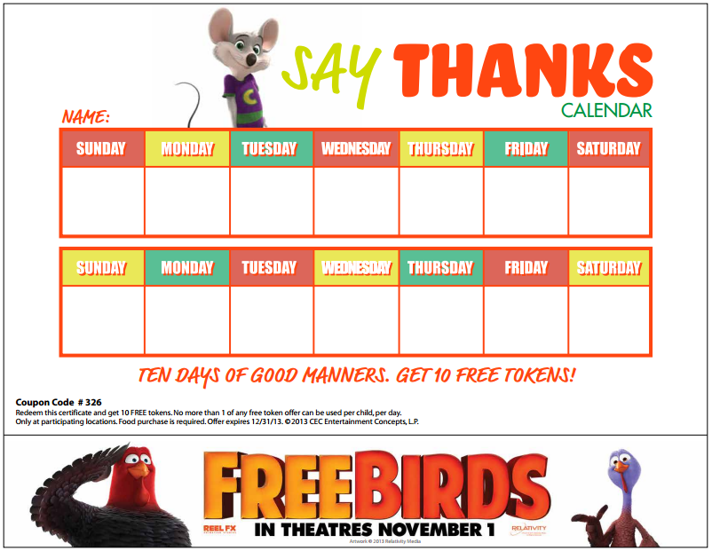 Say Thanks Rewards Calendar